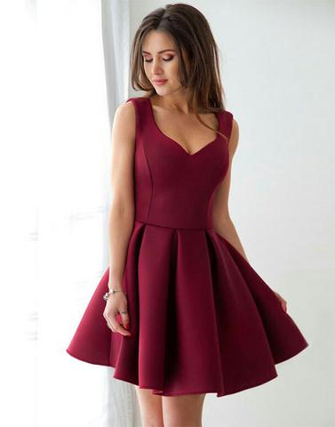 Burgundy short prom dresses, cute homecoming dresses,PD12001