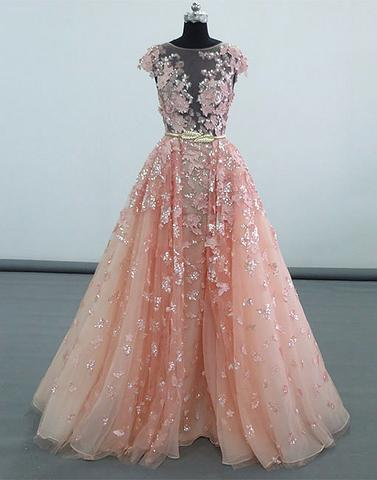 Pink lace sequins long prom dresses, pink evening dresses,PD04006