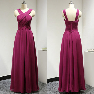 fuchsia bridesmaid dress,long bridesmaid dress,chiffon bridesmaid dress,cheap bridesmaid dress,BD624 - dream dress