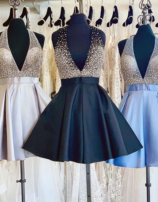 Cute sequin beads short prom dresses, homecoming dresses,PD3773