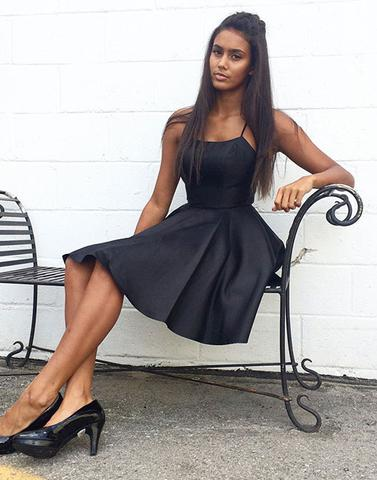 Simple black short prom dress, homecoming dress,PD2052