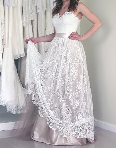 White A line lace strapless long prom dress, lace evening dress,BD173001