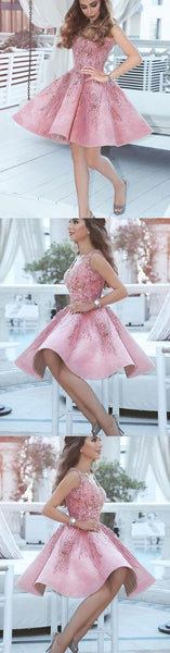 Pink v neck short prom dress, pink evening dress,PD2043