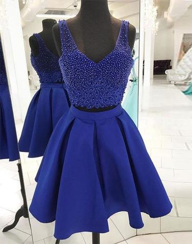 Blue two pieces short prom dress, blue homecoming dress,PD2401