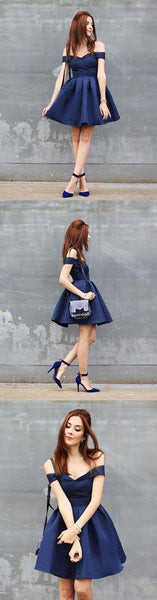 Cute dark blue short prom dress, homecoming dress,PD2033