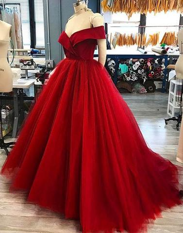 Red v neck tulle long prom dresses, evening dresses,PD24007