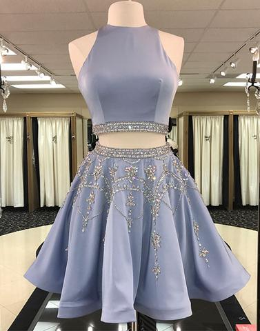 Cute blue two pieces short prom dress, homecoming dress,BD2410 - dream dress