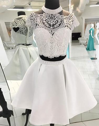 White two pieces lace short prom dress, homecoming dress,PD2030