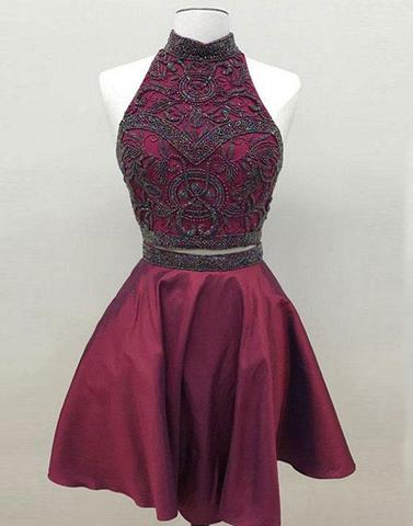 Burgundy two pieces short prom dress, homecoming dress,PD2040