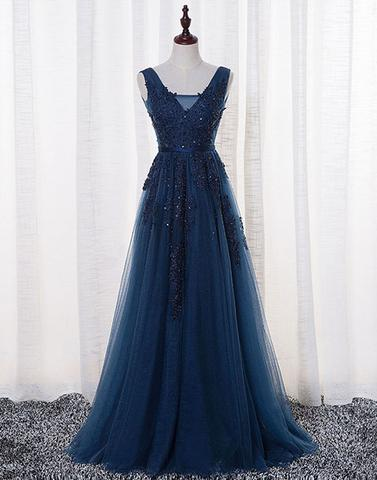 blue lace tulle long prom dresses, lace evening dresses,PD21001