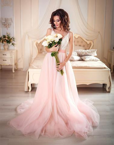 Pink A line v neck tulle lace long prom gown, pink evening dress,BD2803