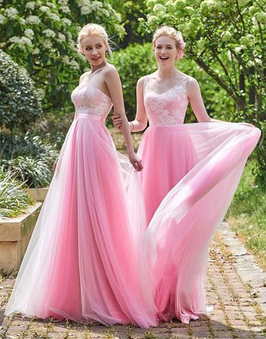 Beautiful pink lace tulle long prom dresses, bridesmaid dress,PD2006