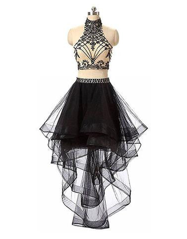 Black two pieces tulle beads high low prom dress, black homecoming dress,BD173005