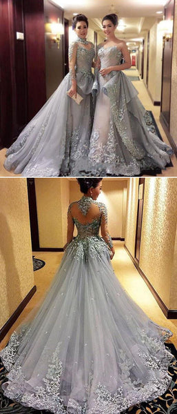 gorgeous prom dress,long gray Prom Dress,charming evening gown,A-line prom gown,2017 prom dress,BD1011