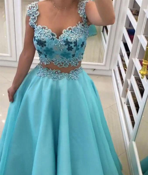 Blue sweetheart two pieces long prom dress, blue evening dresses,PD13003