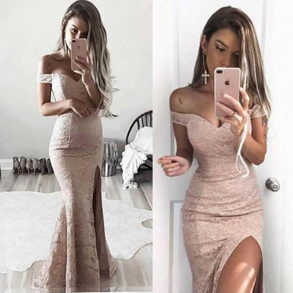 Off Shoulder Lace Mermaid Sexy Side Slit Prom Dresses, Prom Dress, Evening Dress,PD2001