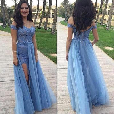 Blue prom dress,long prom dress,off shoulder prom dress,charming prom dress,2017 prom dress,BD618 - dream dress