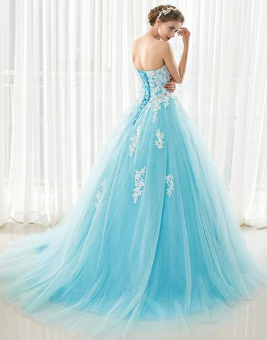 Blue sweetheart neck tulle lace applique long prom dress,BD2409 - dream dress