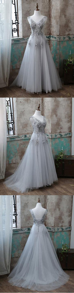 Gray v neck tulle long prom dress, gray evening dresses,PD1915