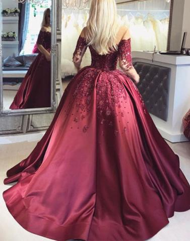 lace long prom gown, long sleeve evening dress