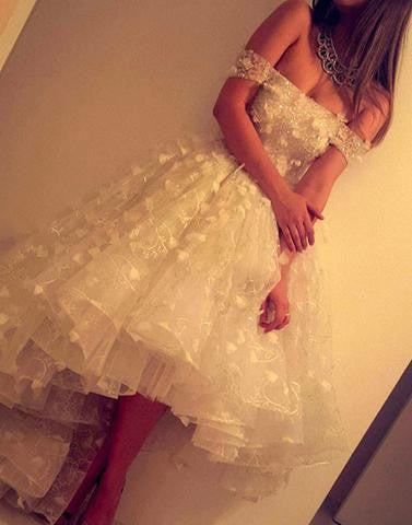 white lace off shoulder prom dresses,hi-lo party dress,BD172602 - dream dress