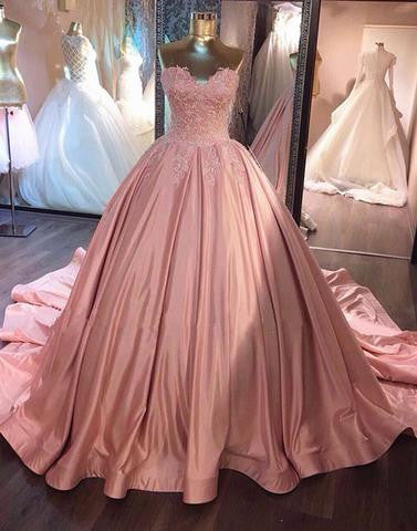 Pink sweetheart neck lace long prom gown, pink evening dress,BD2804