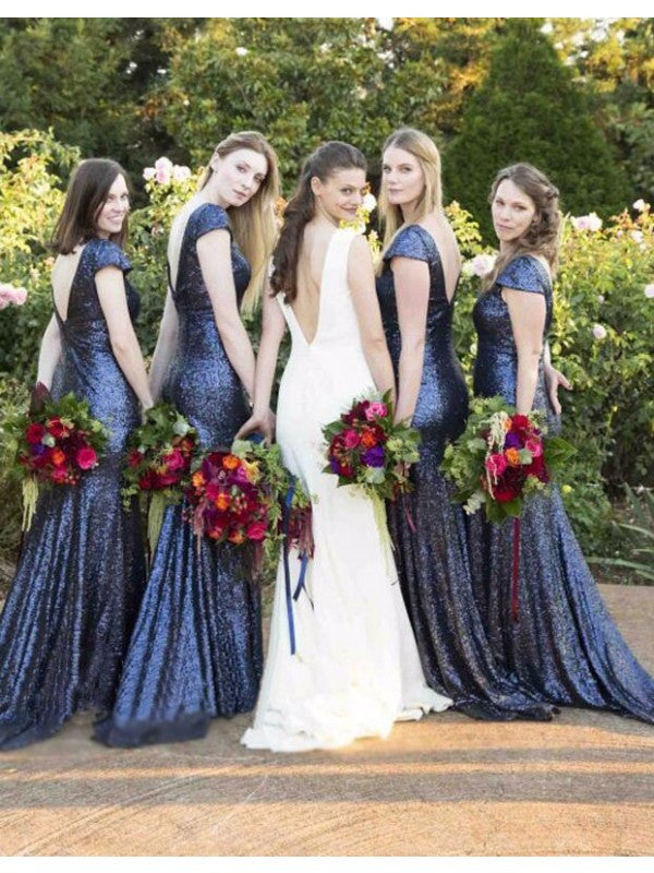 Navy Blue Sequin Bridesmaid Dresslong Bridesmaid Dressshort Sleeves Bridesmaid Dresssparkle Bridesmaid Dressbd2635