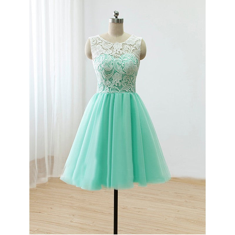 Mint bridesmaid dress,Short bridesmaid dress,Lace bridesmaid dress,homecoming dress,BD395 - dream dress