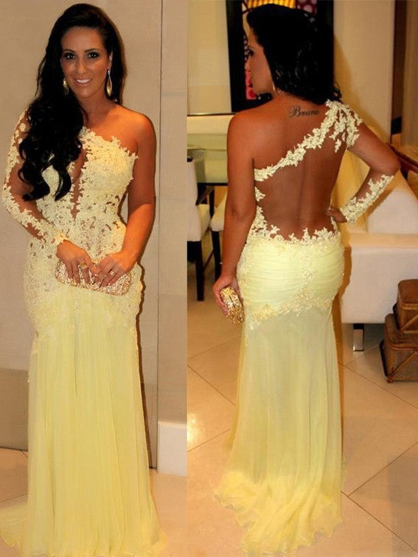 yellow prom Dress,one shoulder Prom Dresses,formal Evening Dress,see through back prom dress,evening dress 2017,BD2850 - dream dress