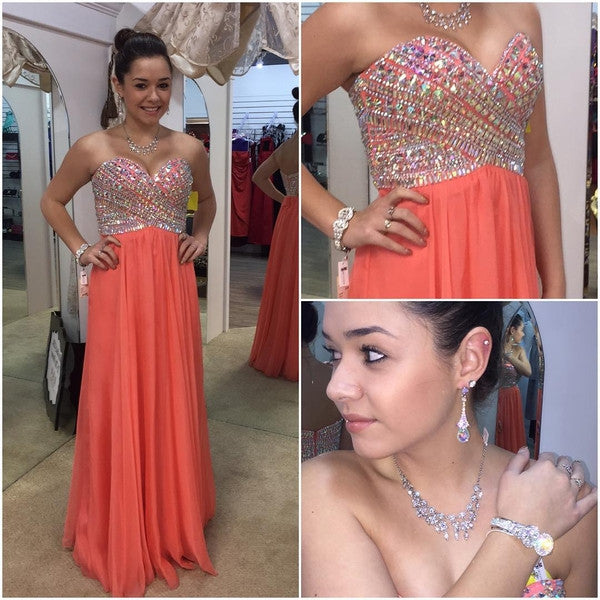 sweetheart prom dress,long Prom Dress,coral prom dress,chiffon prom dress,beaded evening dress,BD2880 - dream dress