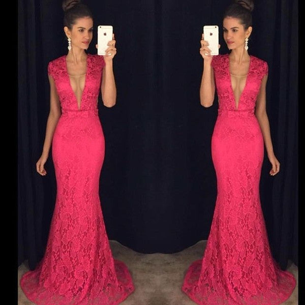 hot pink lace prom dress,long Prom Dress,elegant prom dress,mermaid prom dress,short sleeves evening dress,BD2890 - dream dress