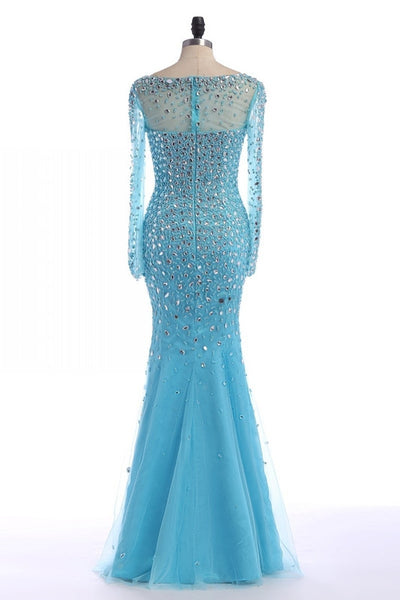 blue prom dress,long Prom Dress,beaded prom dress,long sleeves prom dress,beaded evening dress,BD2894 - dream dress