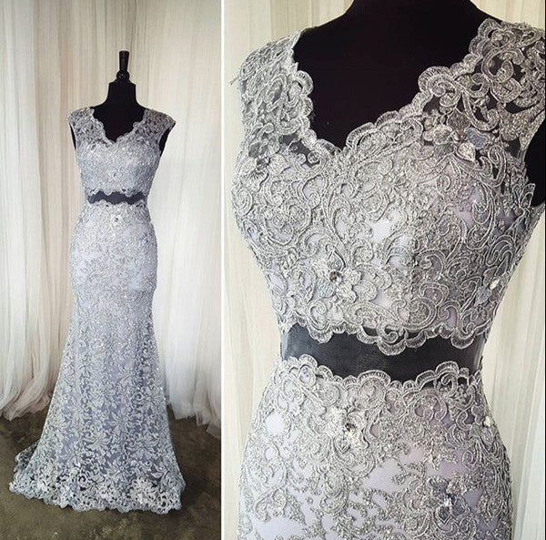 gray prom dress,long Prom Dress,lace prom dress,two pieces prom dress,elegant evening dress,BD2895 - dream dress
