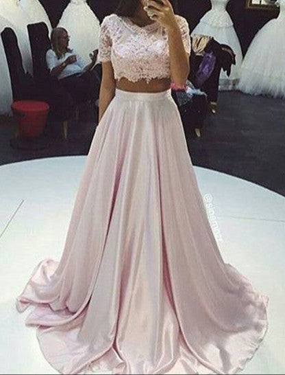 short sleeves Prom Dress,long Prom Dress,two pieces Prom Dress,A-line Prom Dress,lace evening Dress, BD2991 - dream dress