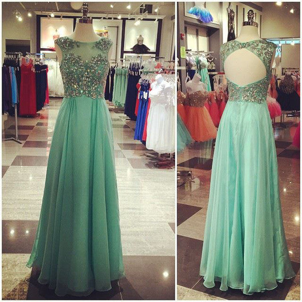 green prom dress,chiffon Prom Dress,long prom dress,open back evening dress,chiffon prom dress,BD2711 - dream dress