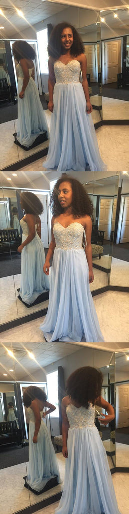 light blue Prom Dresses,long prom dress,sweetheart prom Dress,cheap prom dress,simple prom dress,BD2978