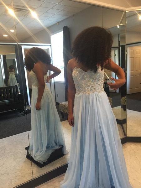 light blue Prom Dresses,long prom dress,sweetheart prom Dress,cheap prom dress,simple prom dress,BD2978 - dream dress