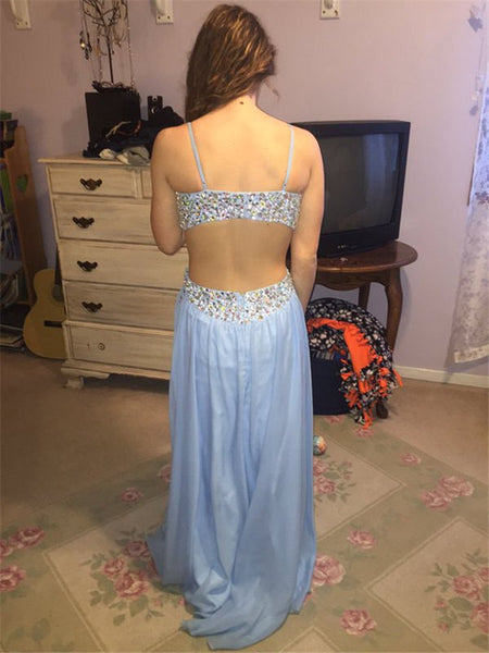 blue Prom Dresses,long prom dress,open back prom Dress,charming prom dress,sexy prom dress,BD2975 - dream dress
