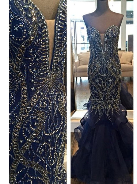 navy blue Prom Dress,Long Prom Dress,mermaid Prom Dress,beaded Prom Dress,gorgeous evening Dress, BD2990 - dream dress