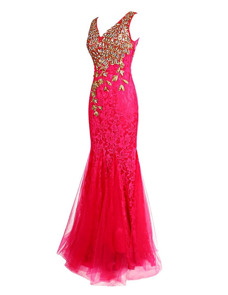hot pink Prom Dresses,long prom dress,mermaid prom Dress,lace prom dress,charming evening dress,BD2984 - dream dress