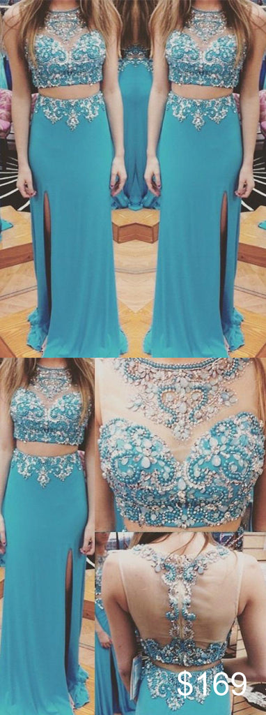 two pieces evening Dress,blue Prom Dress,beaded prom dress,long prom dress,side slit evening dress,BD2966