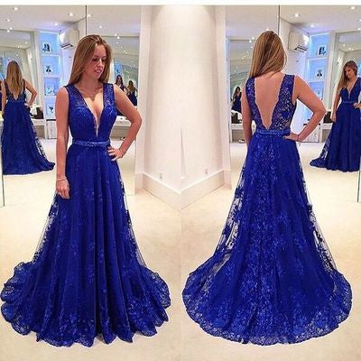 lace Prom Dresses,royal blue prom dress,charming prom Dress,v-neck prom dress,prom gown 2017,BD2800 - dream dress