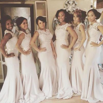 White bridesmaid dress,long bridesmaid dress,Cheap mermaid bridesmaid dress,Lace bridesmaid dress,BD071 - dream dress