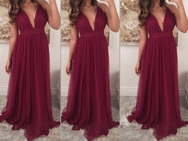 burgundy prom dress,long prom Dress,v-neck Prom Dresses,long prom dress,formal prom gown,BD3015 - dream dress