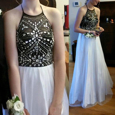 black and white halter long chiffon prom dresses,BD101 - dream dress