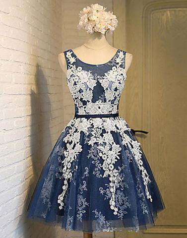 navy blue homecoming dress,short homecoming dress,lace appliques homecoming dress,cheap homecoming dress,BD17298 - dream dress