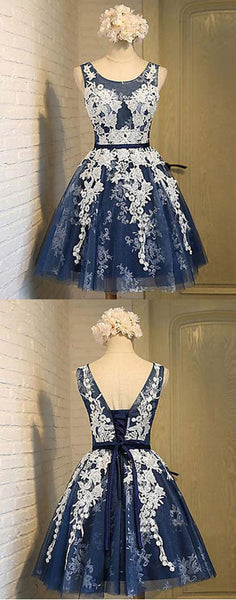 navy blue homecoming dress,short homecoming dress,lace appliques homecoming dress,cheap homecoming dress,BD17298