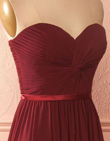 Simple sweetheart neck chiffon burgundy long prom dress, burgundy bridesmaid dress,BD173003 - dream dress