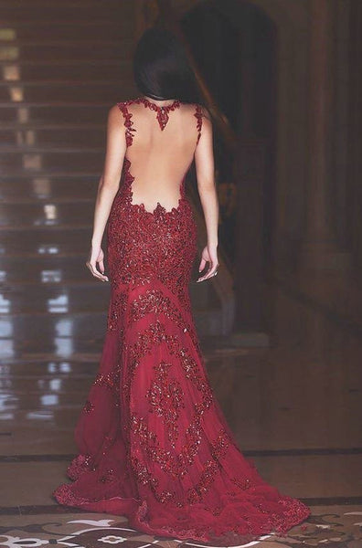 dark red prom dress,open back prom Dress,cheap Prom Dress,mermaid prom dress,long prom dress,BD3907 - dream dress