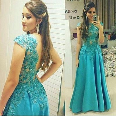 blue Prom Dresses,long prom dress,cap sleeves prom Dress,A-line prom dress,lace applique prom gown 2017,BD2801 - dream dress
